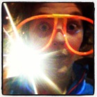 Wearing my sweet glow glasses before the race.